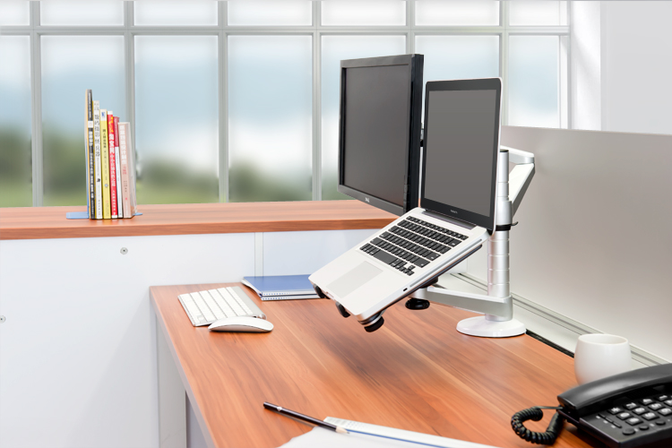 A NewStar laptop stand and monitor mount